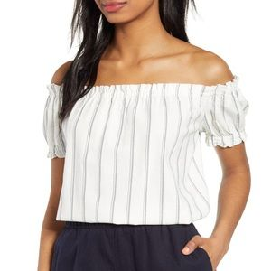 2/$30 Vero Moda white Linen blend off shoulder top